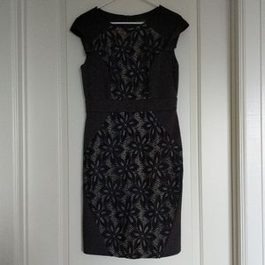 R&M Richards black cocktail dress with navy lace
